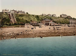 Folkestone, West Cliff from sea